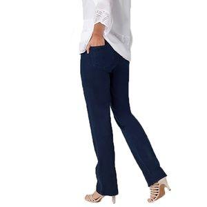NYDJ Straight Leg Stretch High Waist Blue Jeans 8